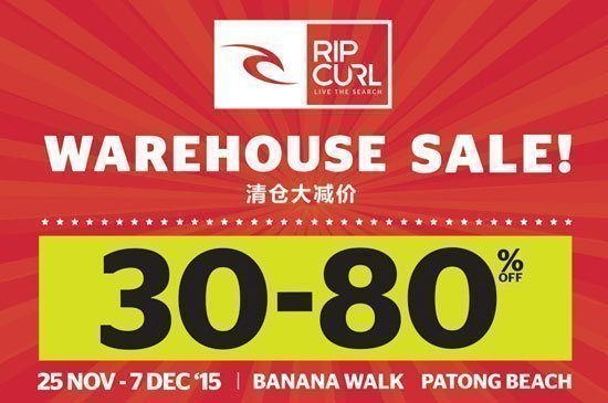 Ripcurl – discount 30-80% at Banana Walk Patong Beach