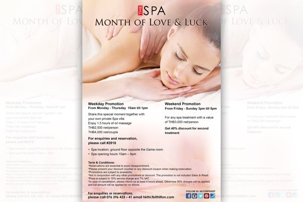 The Spa Month of Love & Luck at Hilton Phuket Arcadia Resort & Spa
