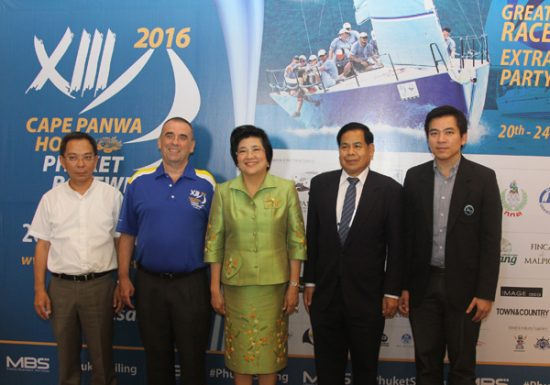 From left: Mr. Poomiphat Navanukroh, Travel Industry Group Director, Cape & Kantary Hotels; Mr. Byron Jones, Managing Director of organisers Media Business Services Co. Ltd. (MBS), organisers of the Cape Panwa Hotel Phuket Raceweek; Assoc. Prof. Dr. Chavanee Tongroach, Vice Minister of Tourism and Sports; Dr. Prajiad Aksornthammakul, Deputy Governor, Phuket; Mr. Uthit Limsakul, Assistant Director, Tourism Authority of Thailand, Phuket Office.