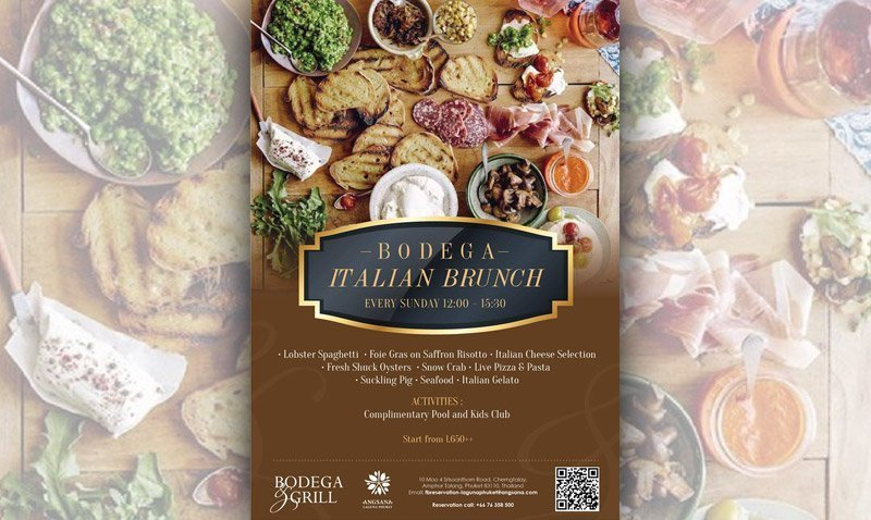 New Sunday Italian Brunch at Bodega & Grill by Angsana Laguna Phuket