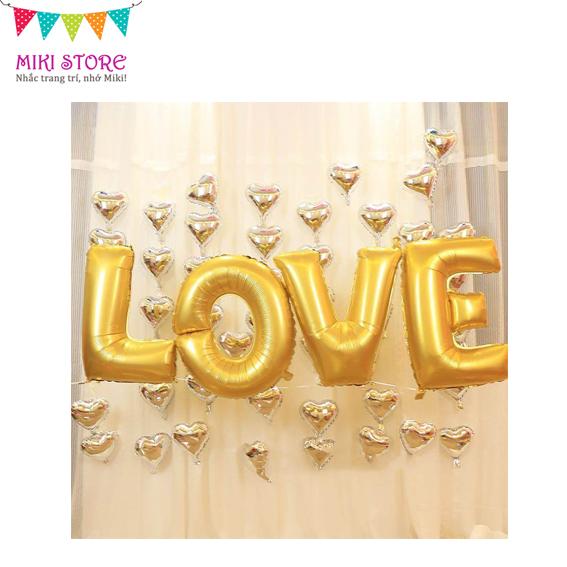 Phong cách sang trọng & nhẹ nhàng với bong bóng kiếng tim mini & bong bóng chữ LOVE màu gold