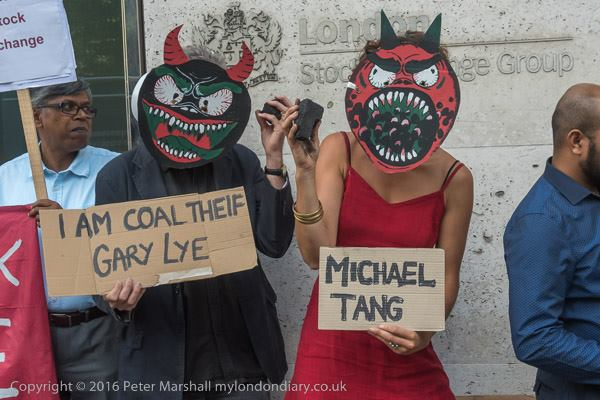 Shameless Gary Lye and Blatant lyer Michael Tang dance with coal over deadbodies Photocredit Peter Marshall
