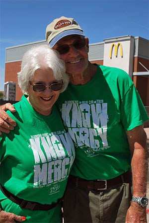 """An inspiration to us all—John and Judy Morris went out """"tagging"""" with the congregation for Special Missions!"""