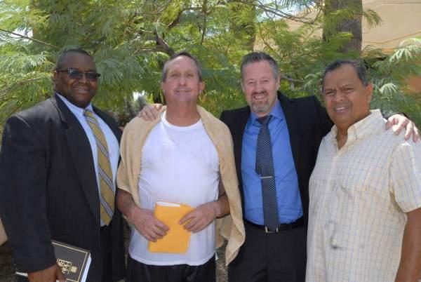 Steve (center left) just after after being baptized!