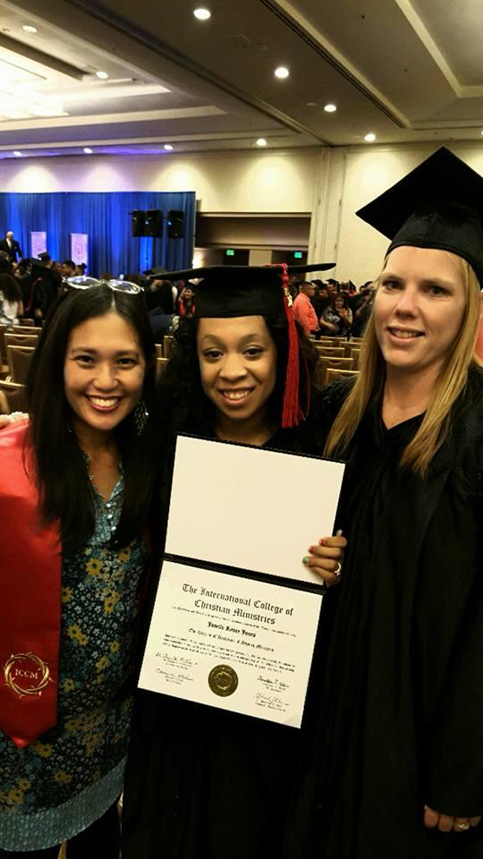 Amy, Janelle Jones, & Keri Garrido celebrate graduating from the ICCM!