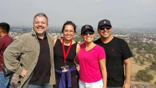 "Jeremy & Amy Ciaramella pictured with Carlos and Lucy Mejia at the summit of the ""Pyramid of the Son"""