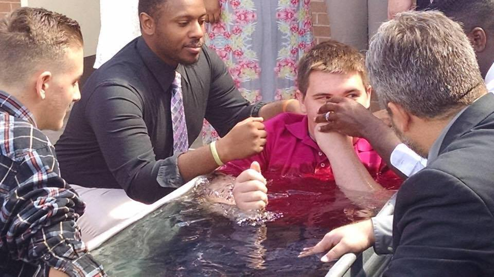 Nelson Brown just before he was baptized into Christ!