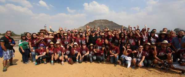 """The Pyramid of the Sun"" in the background is the third largest in the entire world! Once on top, we sang together (in Spanish) ""You are the one God, the True God!"" Check out this month's Good News Email for more about the LAMC conference and more!!"