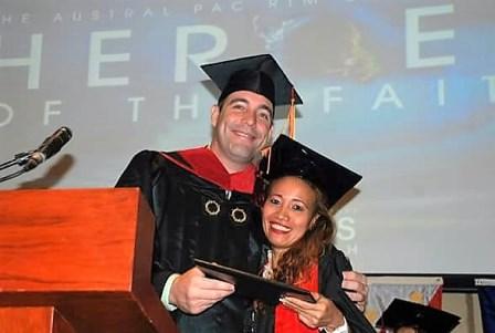 Kyle Bartholomew - President of ICCM-Manila - congratulates Gina Dela Pena!