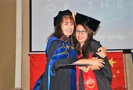Dr. Elena McKean - Vice Chancellor of Women ICCM-Global - congratulates Anna Malnegro on her BA in Ministry Degree!