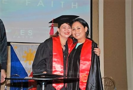 Joan - the Dean of Women for ICCM-Manila - gives a warm congratulatory hug to Cathy!