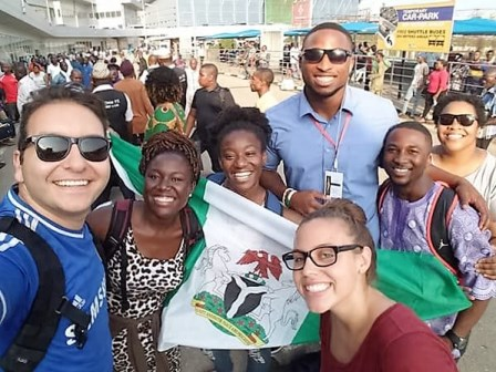 """Jonathan Panossian of LA - """"Zenas"""" to Blaise - arrives Friday at the airport and is greeted by the Lagos Disciples!"""