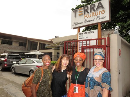 The Greeters for the Welcome Banquet at the famed Terre Kulture - Patrique, Elena, Teena and Markesa!