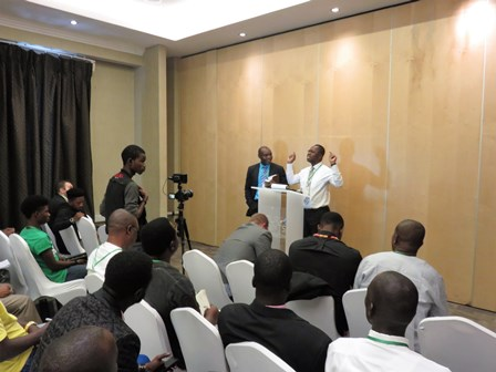 Amadou Sountoura of Abidjan, Ivory Coast preaching in French to the Brothers as Blaise translates!