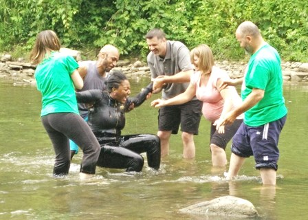 After Jovan was baptized, he was overjoyed to baptize his wife Belinda!