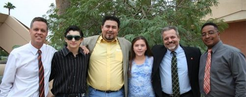 The Phoenix church family celebrates with the Father and His Angels as Ric Muñoz returns to the fold!  Pictured here are the brothers who studied the bible with him and his son Jadon and daughter Jazmine