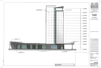 Drawing of the proposed AC Marriott, looking from the South.