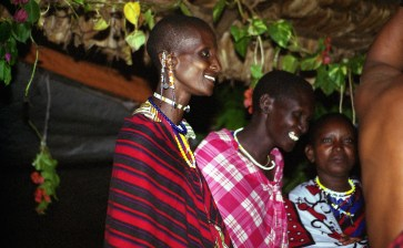 Maasai performers sung and danced on stage of the Honey Badger Cultural Centre. The Maasai people are equivalent to the Amish in America. They continue to live in traditions that were established thousands of years ago as the communities around them step into the modern world with cell phones and the internet.