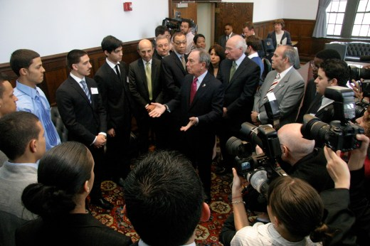 Mayor Bloomberg answers questions from a group of Lehman students—all graduates of NYC public high schools—prior to his press conference. Among those listening are Lehman President Ricardo R. Fernández, CUNY Chancellor Matthew Goldstein, NYC Schools Chancellor Joel Klein, and Deputy Mayor for Education and Community Development Dennis Walcott.