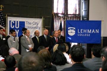 Mayor Bloomberg addresses the crowd.