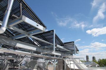 These solar panels on the roof are part of what makes the Science Hall a green building.