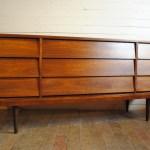 Mid Century Modern Walnut Nine Drawer Dresser Credenza