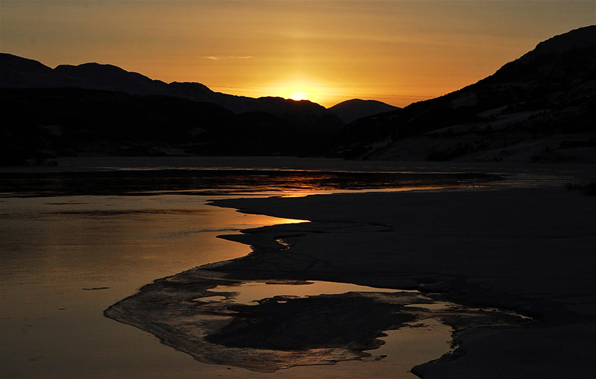 Sonnenuntergang über dem Vagavatnet