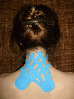 KT-Tape used on the neck/shoulders