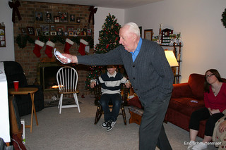 Senior playing Wii - assisted living technology