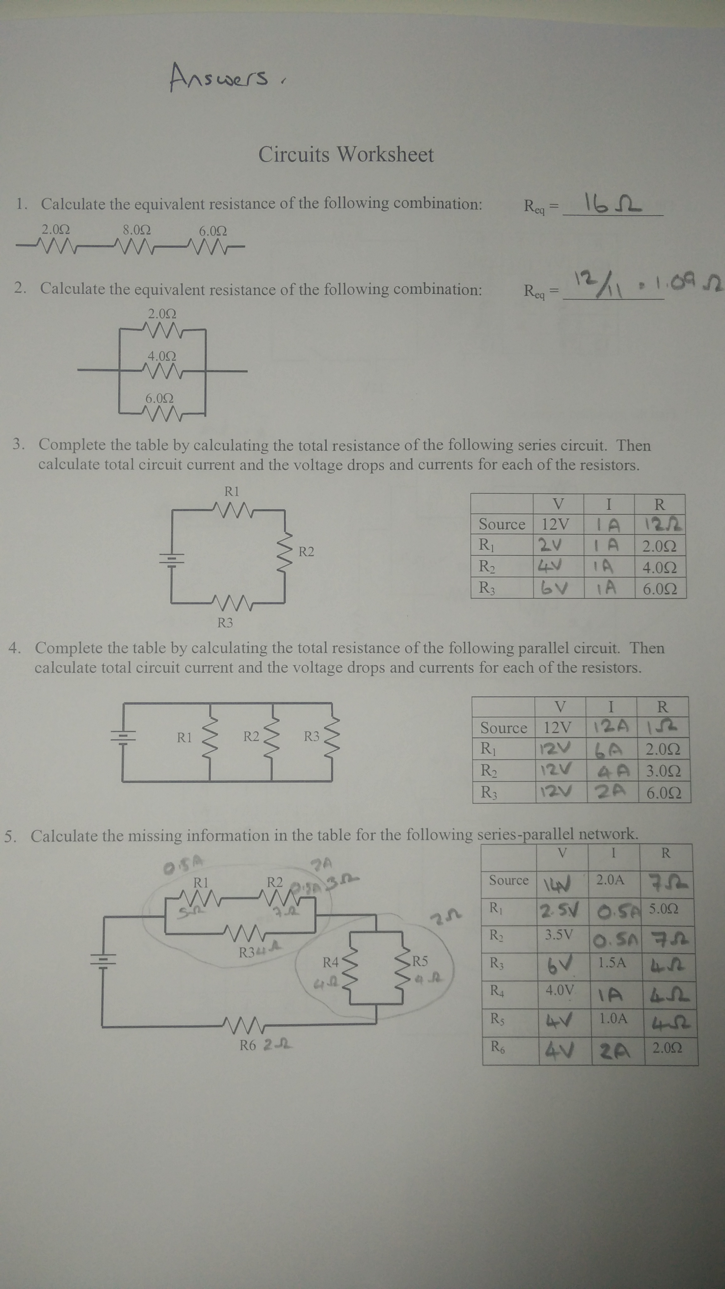 M5 Electric Circuits Homework Answers