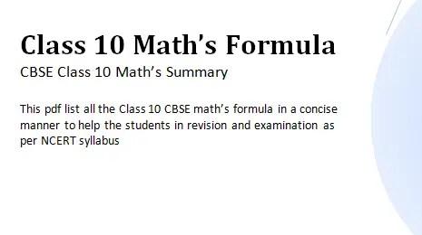 10TH CLASS MATHEMATICS FORMULAS EBOOK DOWNLOAD