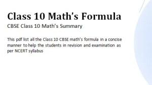 Download Maths Formulas pdf Class 10