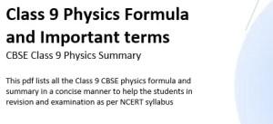 Class 9 Physics formulas and summary