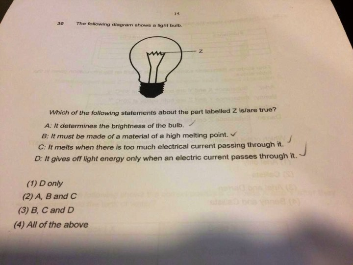 Primary 6 Science Question on Light Bulb
