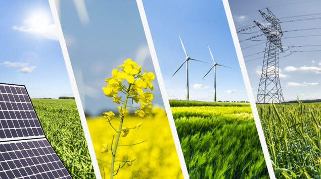 Photo montage of different types of renewable energy