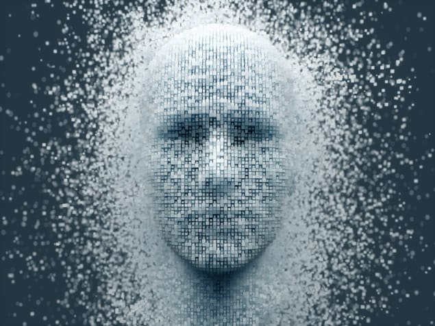 Illustration of a face formed from pixels
