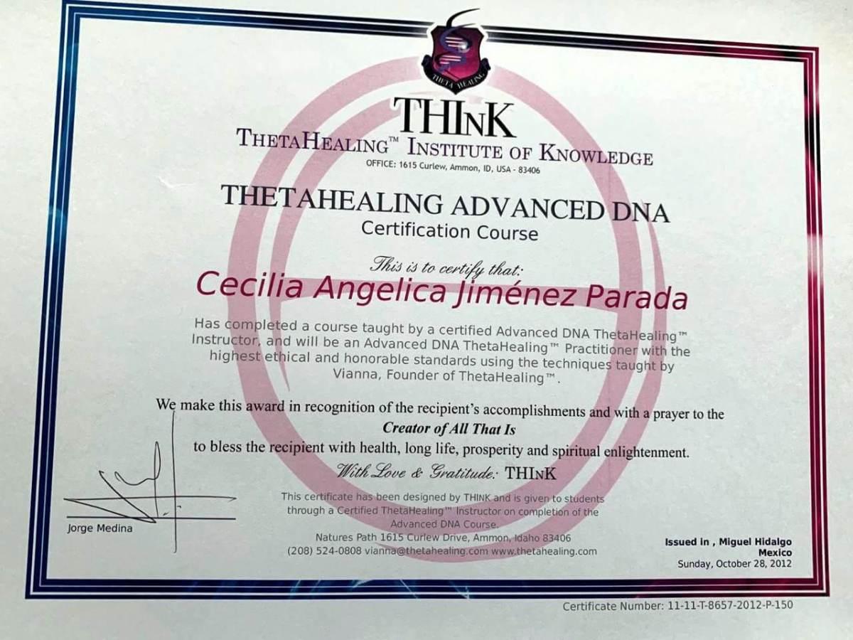 Certificado Thetahealing Advanced DNA