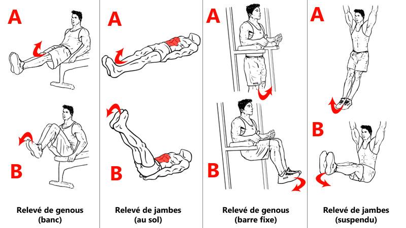 Relevé de jambes pour abdominaux