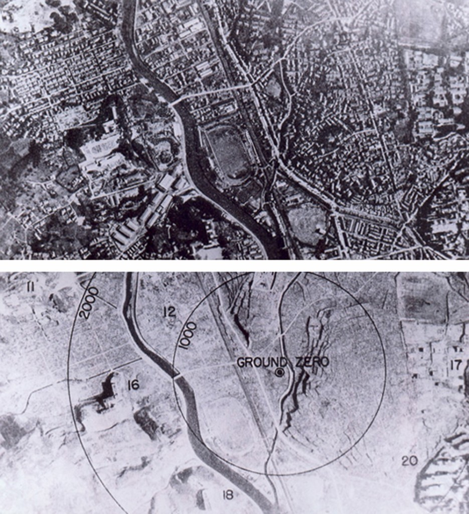 Before and After the Bomb in Nagasaki. Image via Wikimedia