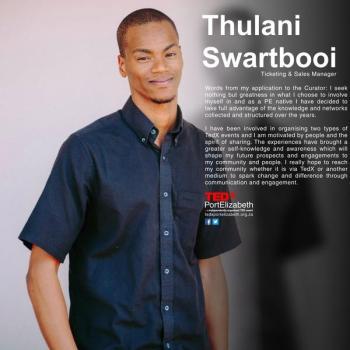 Thulani Swartbooi TEDxPortElizabeth organiser from Uitenhage, South Africa