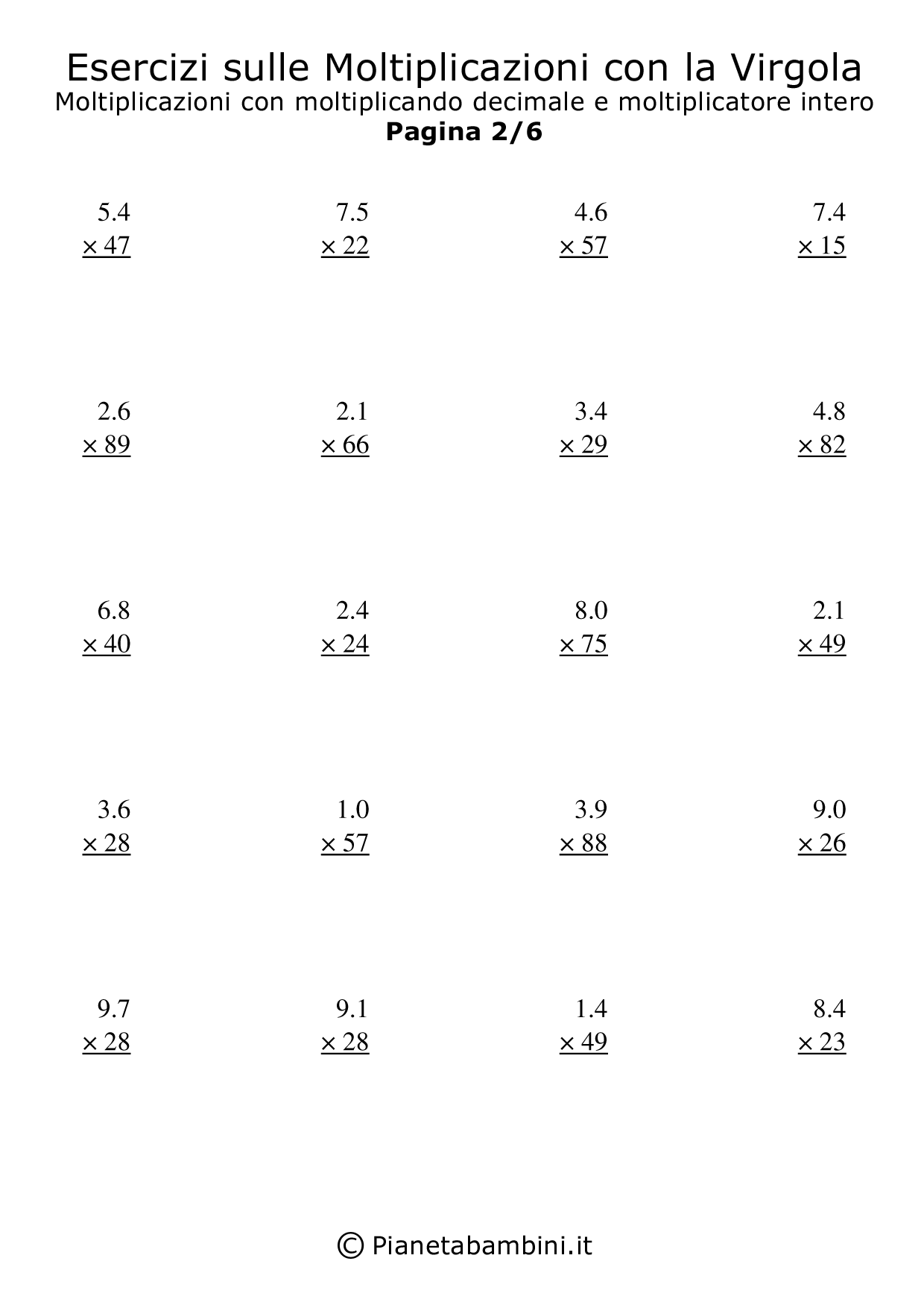 Two Digit Multiplication Worksheet