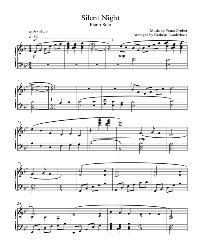 Silent Night Piano Arrangement A Pianists Musings