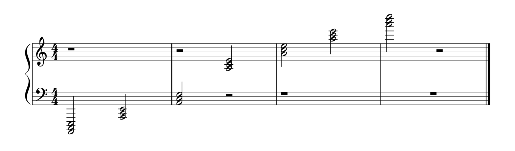 Sheet music showing all seven A Minor chords in root position from low to high