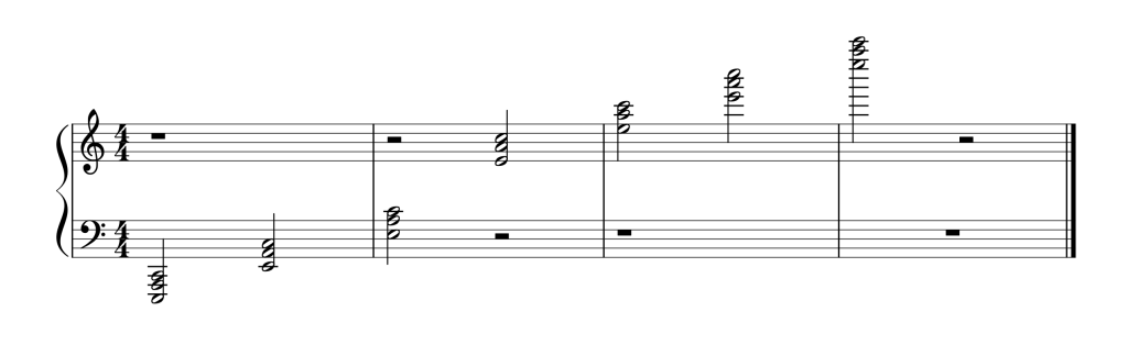 Sheet music showing all seven A Minor chords in second inversion from low to high
