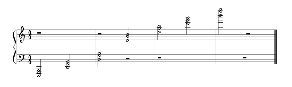 Sheet music showing all seven G chords in second inversion from low to high