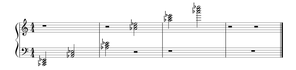 Sheet music showing all six A flat chords in root position from low to high