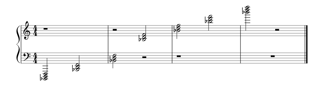 Sheet music showing all seven Bb chords in root position from low to high
