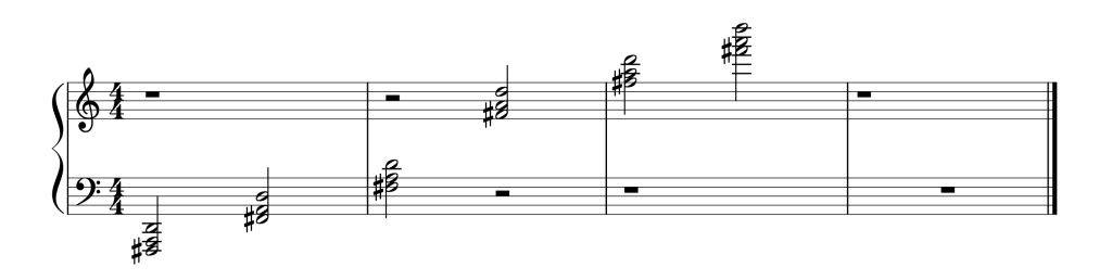 Sheet music showing all six D chords in first inversion from low to high