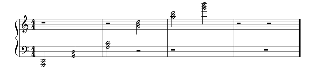 Sheet music showing all six A Minor chords in root position from low to high
