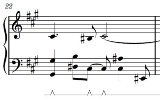 Wii Theme Piano Sheet Music - Last Line - First Bar